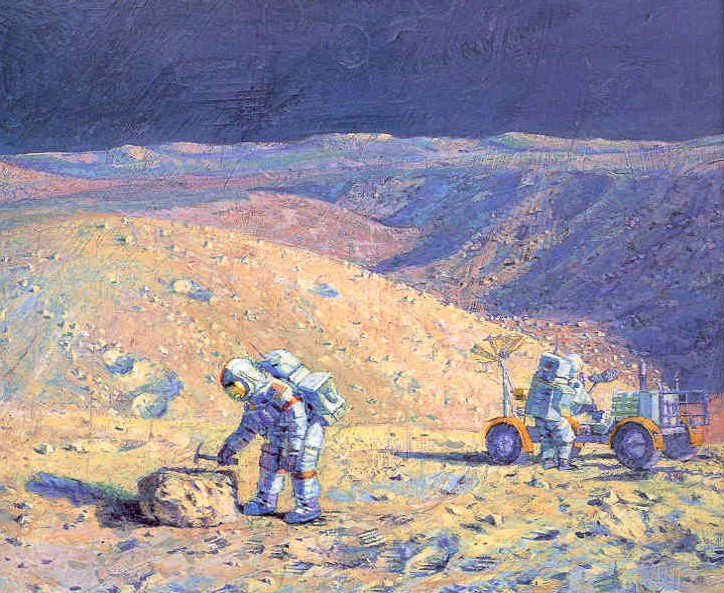 Hadley Rille, Scott/Irwin, by Alan Bean