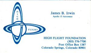 James Irwin business card