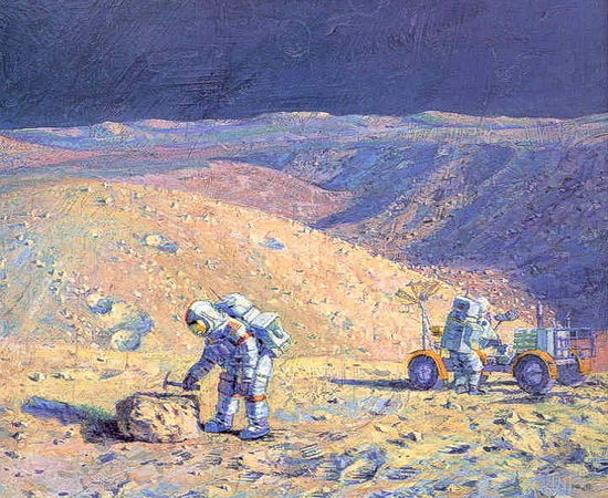 "Dave Scott and Jim Irwin in ""Hadley Rille"" by Alan Bean"