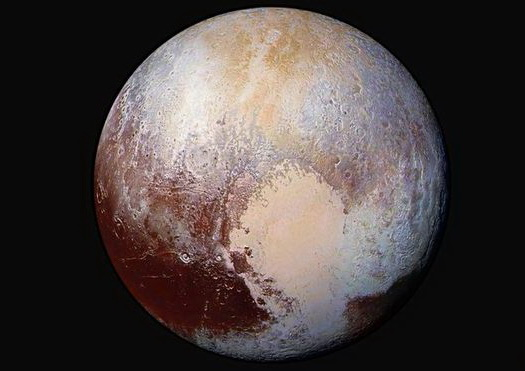 False-color image of Pluto from New Horizons, July 24, 2015