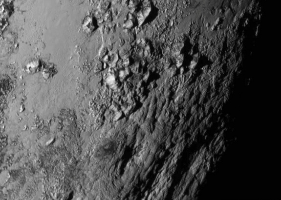 Mountains on Pluto from New Horizons, July 14, 2015