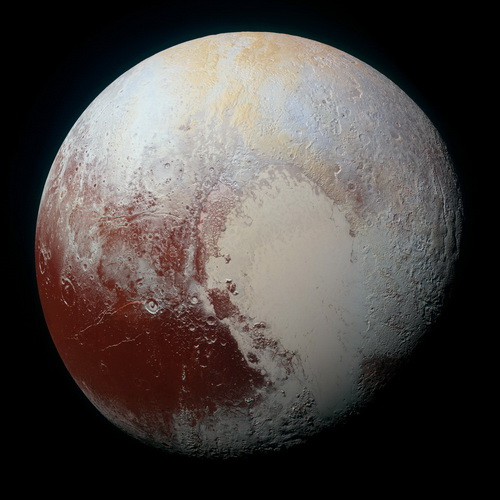 Pluto (color-enhanced) from New Horizons, Sept 24, 2015 release